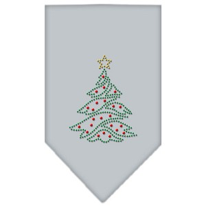 Christmas Tree Rhinestone Bandana Grey Large